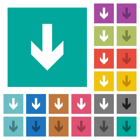 Down arrow multi colored flat icons on plain square backgrounds. Included white and darker icon variations for hover or active effects.