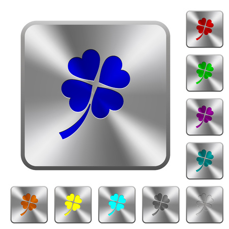 Four leaf clover engraved icons on rounded square glossy steel buttons