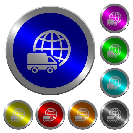 International transport icons on round luminous coin-like color steel buttons Illustration