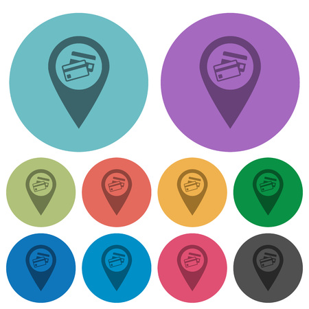 Credit card acceptance GPS map location darker flat icons on color round background Illustration