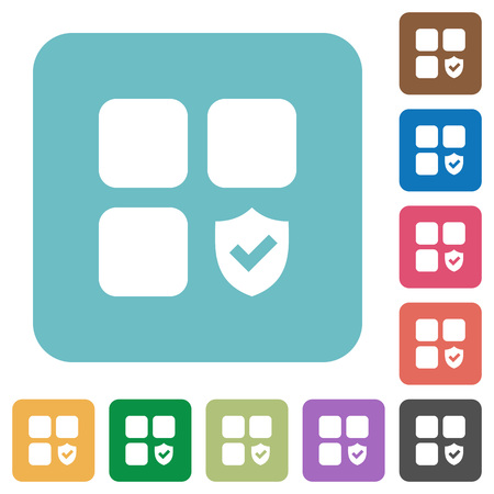 Protected component white flat icons on color rounded square backgrounds