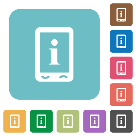 Mobile information white flat icons on color rounded square backgrounds Illustration