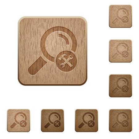 Customize search on rounded square carved wooden button styles Illustration