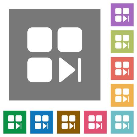 Component next flat icons on simple color square backgrounds Illusztráció