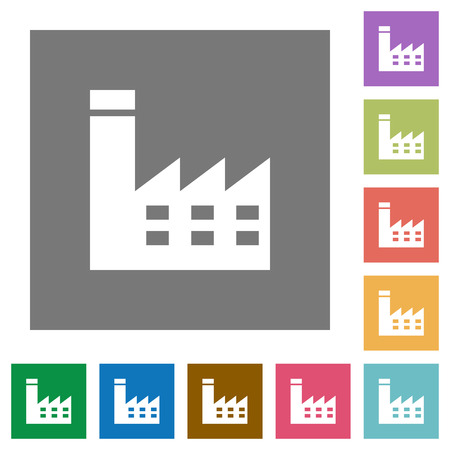 Factory building flat icons on simple color square backgrounds