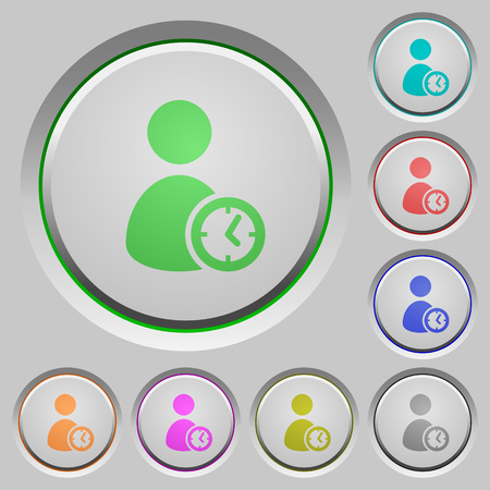 User account time color icons on sunk push buttons