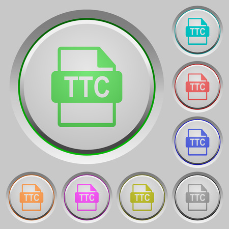 TTC file format color icons on sunk push buttons 向量圖像