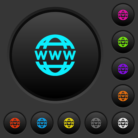 WWW globe dark push buttons with vivid color icons on dark grey background