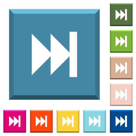 Media fast forward white icons on edged square buttons in various trendy colors Illustration
