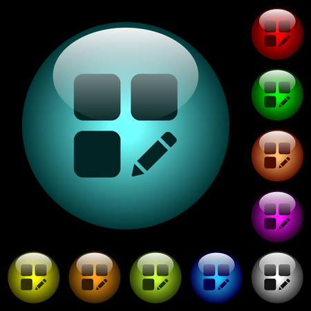 Rename component icons in color illuminated spherical glass buttons on black background.