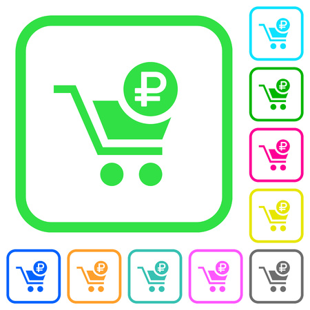 Checkout with Ruble cart vivid colored flat icons in curved borders on white background