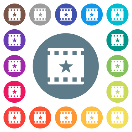 Mark movie flat white icons on round color backgrounds. 17 background color variations are included.