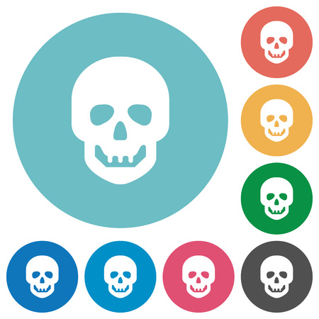 Human skull flat white icons on round color backgrounds