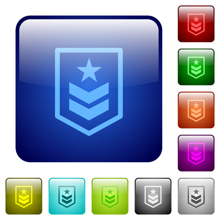Military rank icons in rounded square color glossy button set