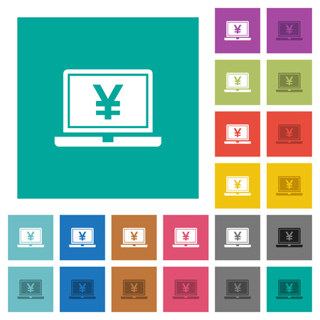 Laptop with yen sign multi colored flat icons on plain square backgrounds. Included white and darker icon variations for hover or active effects.