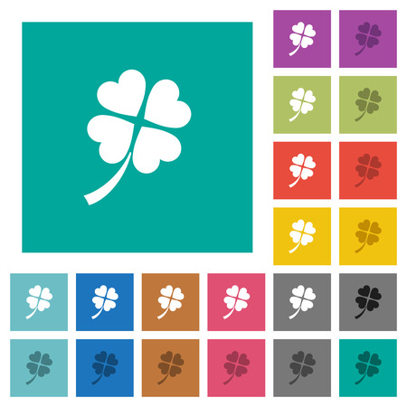 Four leaf clover multi colored flat icons on plain square backgrounds. Included white and darker icon variations for hover or active effects.