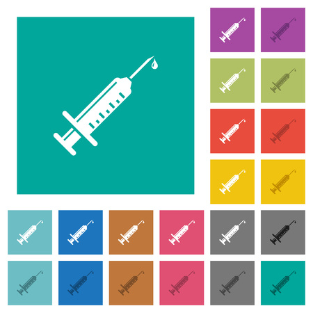 Syringe with drop multi colored flat icons on plain square backgrounds. Included white and darker icon variations for hover or active effects.