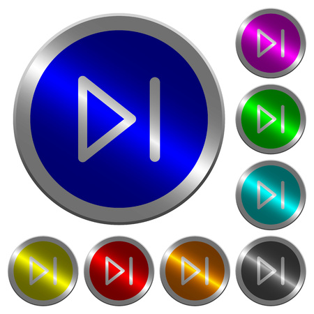 Media next icons on round luminous coin-like color steel buttons