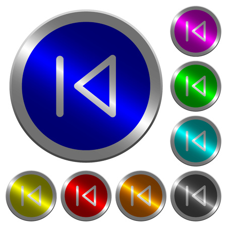 Media prev icons on round luminous coin-like color steel buttons