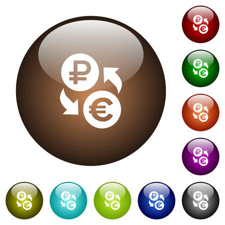 Weiße Symbole des Rubel-Euro-Geldwechsels auf runden Glasknöpfen