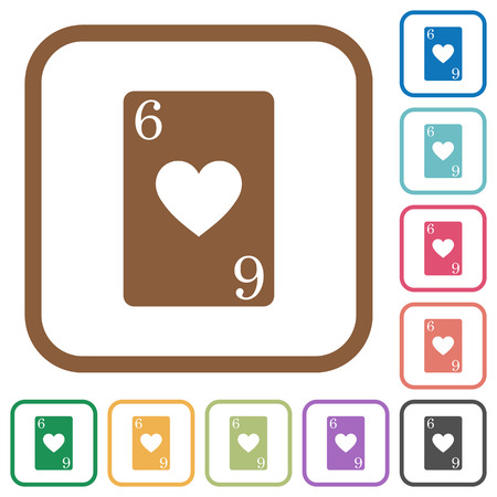 Six of hearts card simple icons in color rounded square frames on white background
