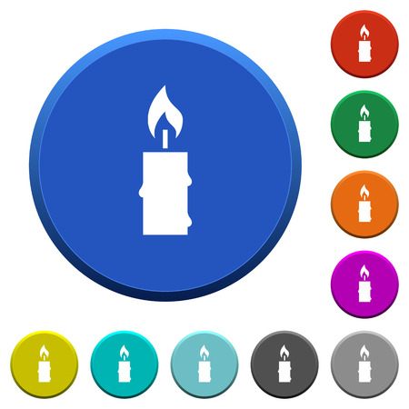 Burning candle with melting wax round color beveled buttons with smooth surfaces and flat white icons