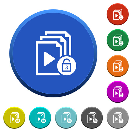 Unlock playlist round color beveled buttons with smooth surfaces and flat white icons Illustration