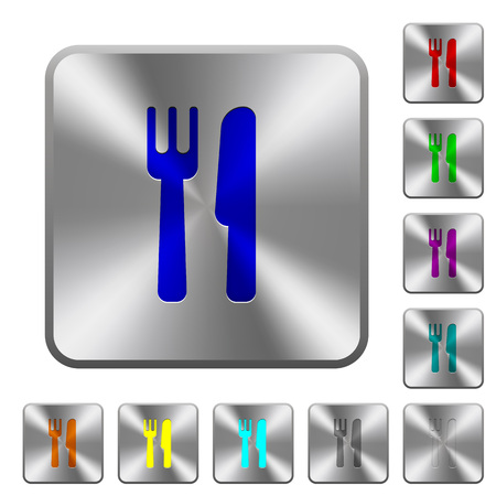 Cutlery engraved icons on rounded square glossy steel buttons
