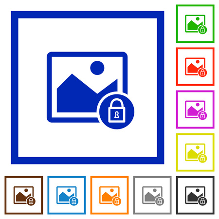 Lock image flat color icons in square frames on white background