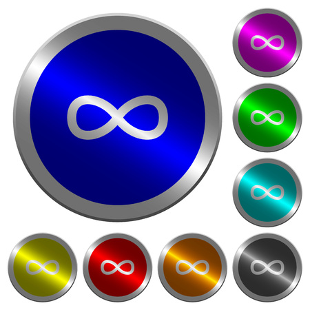 Infinity symbol icons on round luminous coin-like color steel buttons