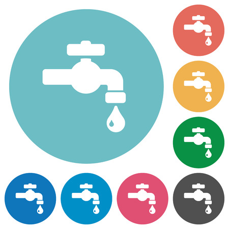 Water faucet with water drop flat white icons on round color backgrounds Ilustração