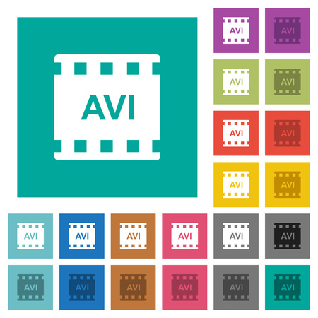 AVI movie format multi colored flat icons on plain square backgrounds. Included white and darker icon variations for hover or active effects.