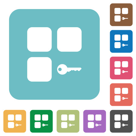 Secure component white flat icons on color rounded square backgrounds