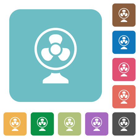 Table fan white flat icons on color rounded square backgrounds Ilustrace