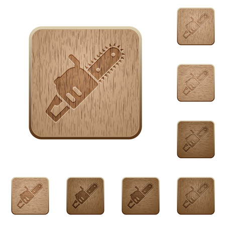 Chainsaw on rounded square carved wooden button styles Vettoriali