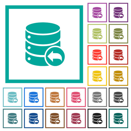 Database transaction rollback flat color icons with quadrant frames on white background