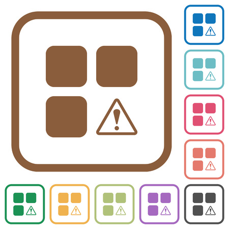 Component warning simple icons in color rounded square frames on white background