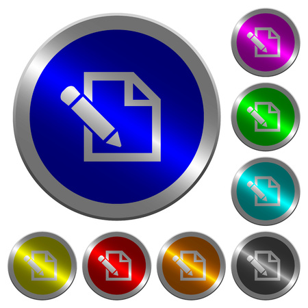 Edit with pencil icons on round luminous coin-like color steel buttons Illustration