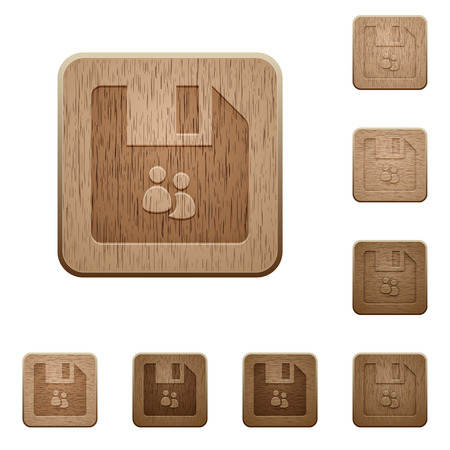 File group on rounded square carved wooden button styles