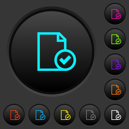 Document accepted dark push buttons with vivid color icons on dark grey background