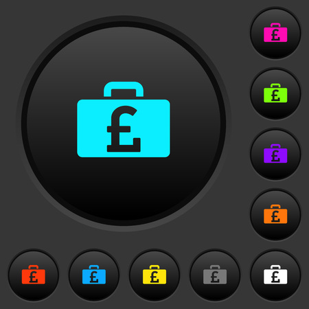 Pound bag dark push buttons with vivid color icons on dark grey background