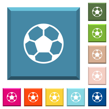 Soccer ball white icons on edged square buttons in various trendy colors