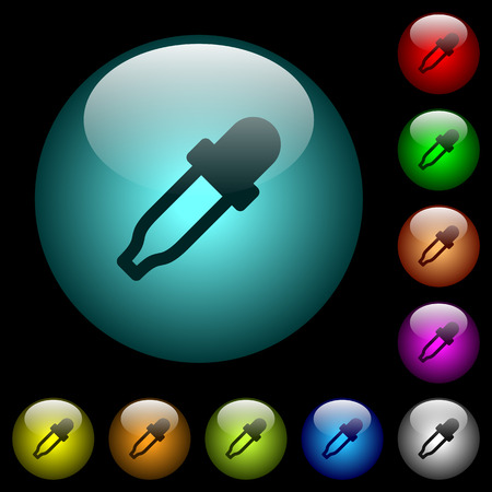 Color picker icons in color illuminated spherical glass buttons on black background. Can be used to black or dark templates Illustration
