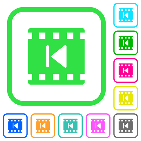 Previous movie vivid colored flat icons in curved borders on white background Illusztráció