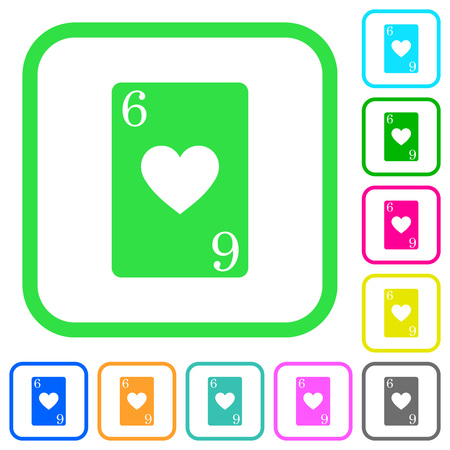 Six of hearts card vivid colored flat icons in curved borders on white background