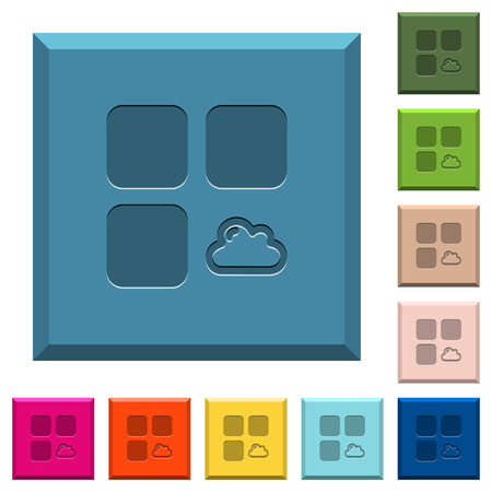 Cloud component engraved icons on edged square buttons in various trendy colors
