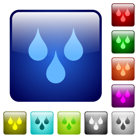 Water drops icons in rounded square color glossy button set