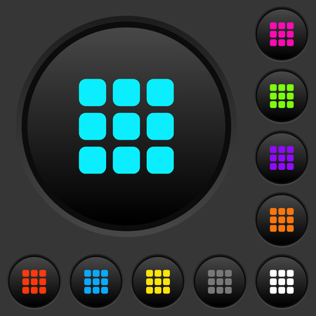 Small thumbnail view mode dark push buttons with vivid color icons on dark grey background
