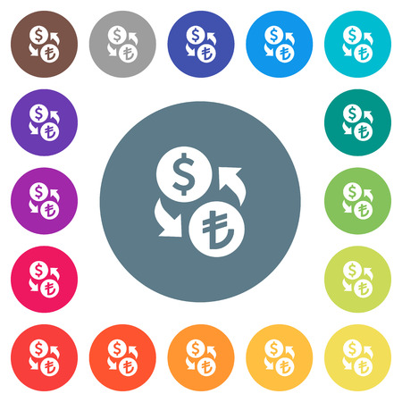 Dollar Lira money exchange flat white icons on round color backgrounds. 17 background color variations are included.