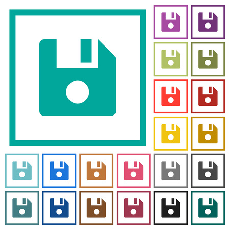 File record flat color icons with quadrant frames on white background